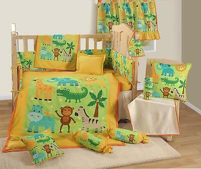 7 Pcs Digital Printed Yellow Jungle NURSERY Cotton BABY COT SET Bumper Quilt