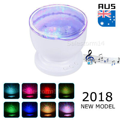 LED Kids Bedroom Ocean Daren Waves Romantic Night Light Projector Lamp+Speaker