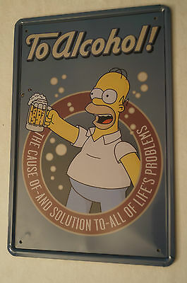 RETRO STYLE TIN SIGN - To Alcohol - The Cause of - And Solution to........