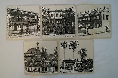 Collectable - Vintage - Group Lot of 5 - Period Home - Plastic Coasters