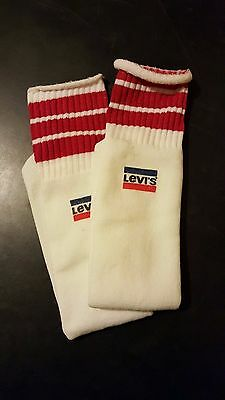 Rare Vintage 80s Levi's Jeans Red Stripe Tube Socks Unworn Mens Womens USA