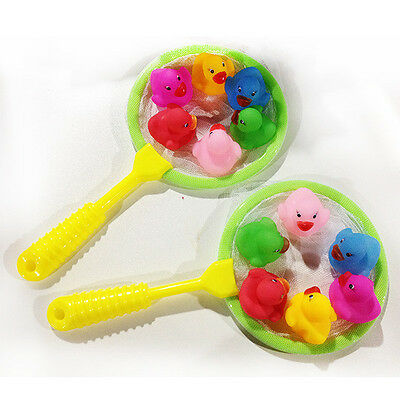 12PCS Mini Rubber Colorful Squeaky Ducks Fishing Net Childrens Bath Water Toys