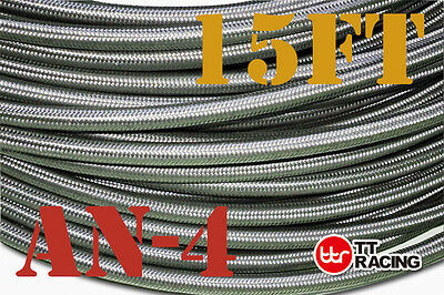 "1/4"" Stainless Steel Braided 1000 Psi -4An An4 4-An Oil Fuel Line Hose 15Ft 5M"