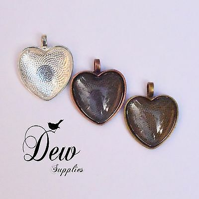 6 x Heart Shape Pendant Trays with Matching Glass Dome Inserts