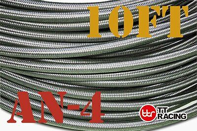 "1/4"" Stainless Steel Ss Braided Oil Fuel Line Hose -4An An4 4-An 10Ft 3M"