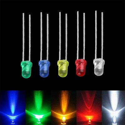 100pcs 3mm White Green Red Blue Yellow LED Light Bulb Emitting Diode Lamps OP
