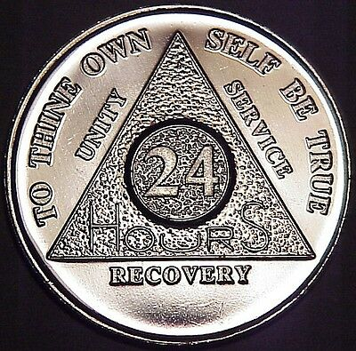 Aluminum AA Alcoholics Anonymous 24 Hours Medallion Desire Chip Coin 24hrs