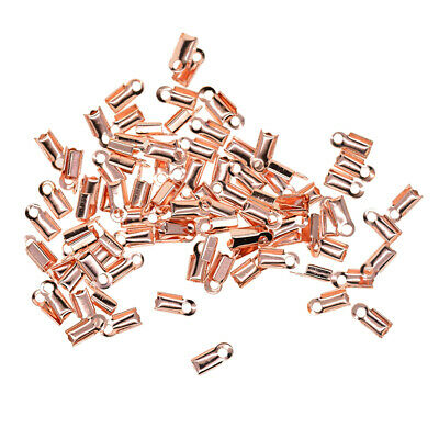 100 x Rose Gold Plated Ribbon End Clasps 10mm End Crimps Cord Jewelry Making