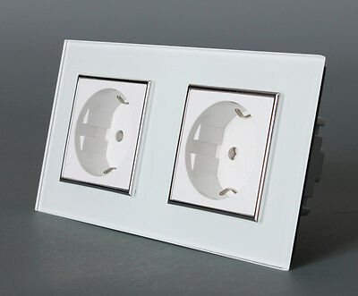 Livolo White EU Type AC110~250V 16A Wall Power 2Way Socket Crystal Glass Panel