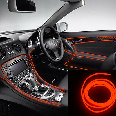Car 12V 2M Red Cold light lamp Neon Lamp EL Wire Atmosphere Fluorescent Strips