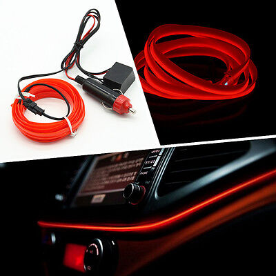 Red 6.5ft Panel Neon Light Strip Cold EL OLED Interior Trim Atmosphere For BMW