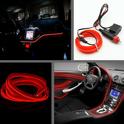 Car Red Panel Neon Light Strip Cold EL OLED Interior Trim Atmosphere For Benz
