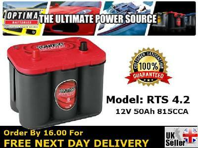 Optima Red Top - RTS 4.2 AGM Car Battery 12V 815CCA - Strong Handle