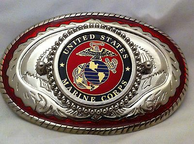 USMC Marine Corp Belt Buckle Rope & Anchors Western (Red and Silver)