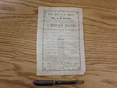 Grand Army of the Republic Program Play History Rare 1870  GAR Civil War Theatre