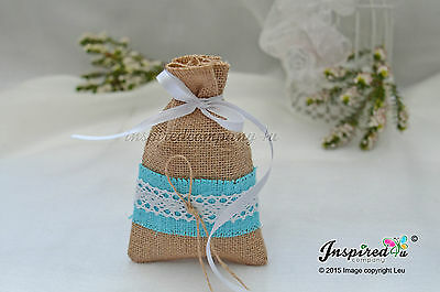 Wedding 25 x Hessian Favor Bags Turquoise Burlap Lace Ribbon Party Guest Gifts