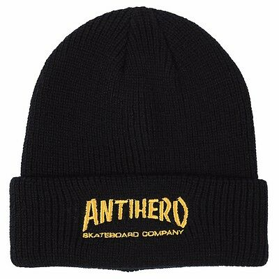 Anti Hero SKATE CO CUFF Skateboard Beanie BLACK/YELLOW