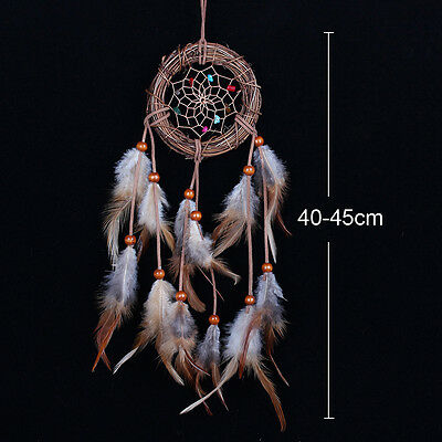 Rattan Dream Catcher With feathers Wall Hanging Decoration Decor Bead Ornament
