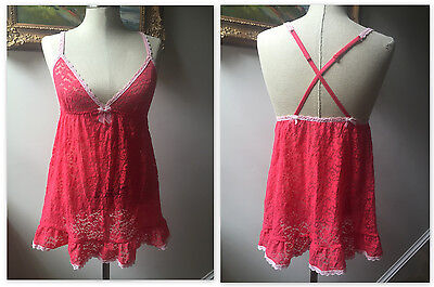 Victoria's Secret Sexy M Coral Pink Lace Slip BabyDoll Nightie Teddie Cross Back