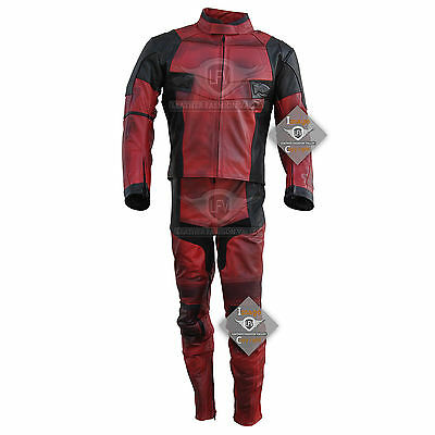 New Deadpool Black & Fire Red Leather Suit Jacket Pants Deadpool Leather Costume