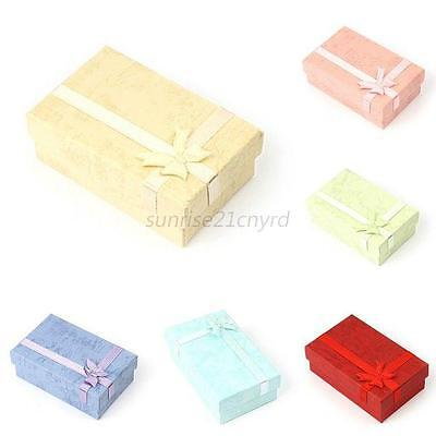24X Paper Square Bowknot Ring Earrings Necklace Jewelry Gift Box Case Useful