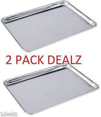 18 x 13 Half Size Aluminum Sheet Pan Commercial Grade for Baking 2 pack + Bonus