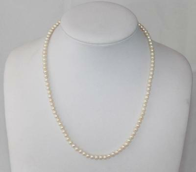 """Estate 17"""" Necklace  5 mm Baby Pearls Hand Knotted 14Kt Classic Hook Clasp"""