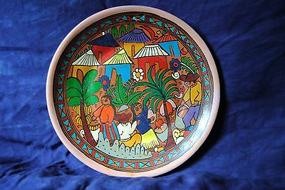 VINTAGE Terracotta Mexican Story Plate HandPainted Folk Art People Picking Fruit