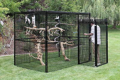 7' TALL FULLY ENCLOSED 6'x8' WELDED WIRE CAGE, with DOUBLE SAFETY DOOR, AVIARY,