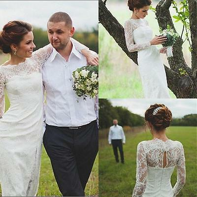 Long Sleeve White Ivory Lace Formal Wedding Bridal Gown Dresses Custom Size New