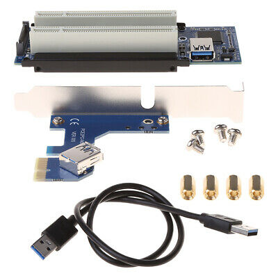 PCI-E Express X1 to Dual PCI Riser Adapter Card Extend With USB 3.0 Cable 2.6 FT