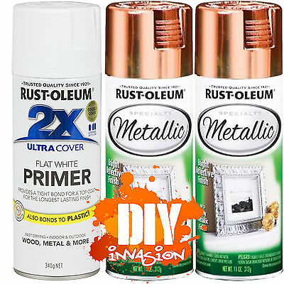 Rust-Oleum Reflective Metallic Copper x 2 Leafing Spray Paint & White Primer