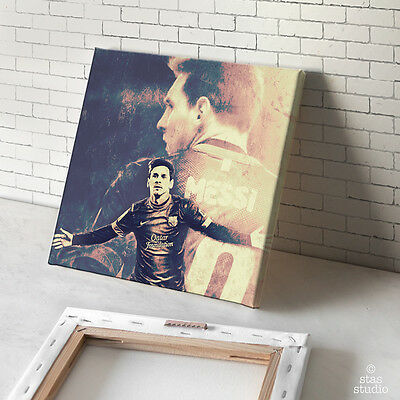 LIONEL MESSI Retro poster painting CANVAS ART GICLEE PRINT (Mounted)