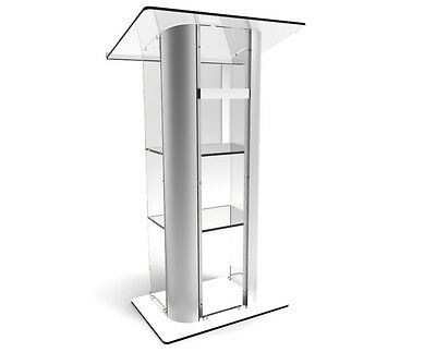 Acrylic Podium Curve Pulpit Plexiglass Church Podium Curved Brushed Lectern