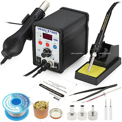 8786D Alloy 2 in1 Soldering Iron Station / Hot Air Gun Rework Station 3 nozzles