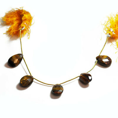 5+ Brown/Yellow Tiger Eye Approx 10-18mm Handcut Faceted Flat Drop Beads SR1105