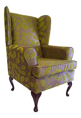 Fireside / Wing Back  / Queen Anne Chair Orchard  Leaf Citrus Chenille Fabric