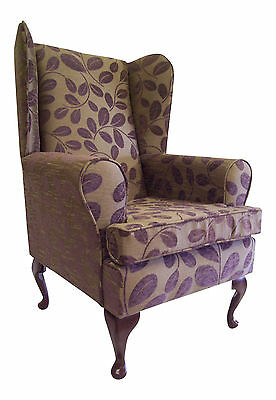 Fireside/wing Back/queen Anne Chair Orchard Leaf Cocoa Chenille Fabric
