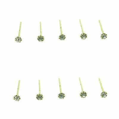 10x Gold Plated Silver 925 Straight Clear Round Claw Set Crystal Nose Pin Studs