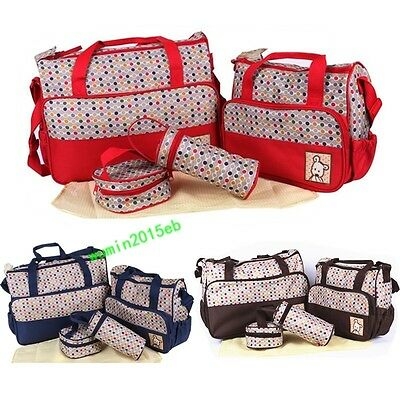 5Pcs Baby Nappy Changing Bags Set Mummy Diaper Bag With Changing Mat Bottle Bag