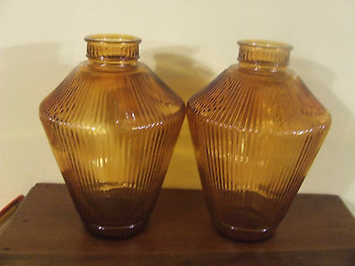 2 Vintage Ribbed Amber Glass Art Deco Ceiling Light Globe Shade Fixture