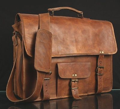 Leather Bag Men's Genuine Vintage Brown Messenger Bag Shoulder Laptop Briefcase