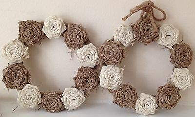 Hessian (Burlap) Wreath Roses Natural Ivory Barn Wedding Vintage Shabby Chic 12""