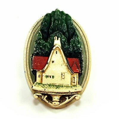 COUNTRY COTTAGE DOOR KNOCKER Cast Iron Hand Painted Antique Vtg Hubley