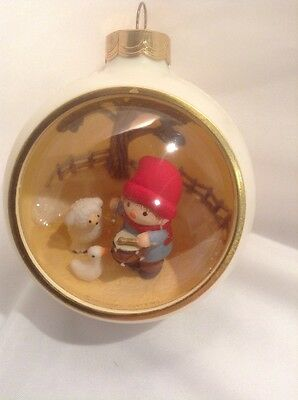 1980's HALLMARK Panorama Ball SNOOPY FRIENDS Drummer Boy Christmas Ornament