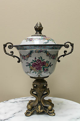 "Dominic  15"" porcelain urn with bronze pedestal"