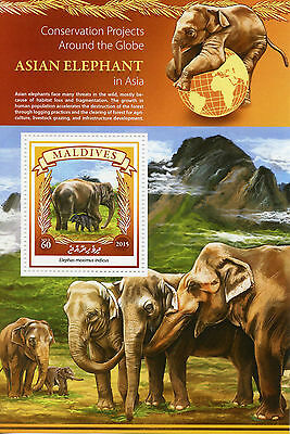 Maldives 2015 MNH Asian Elephant in Asia Conservation Projects 1v S/S Elephants