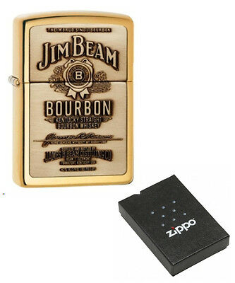 Personalised Jim Beam Brass Emblem Zippo Cigarette Lighter Engraved Free