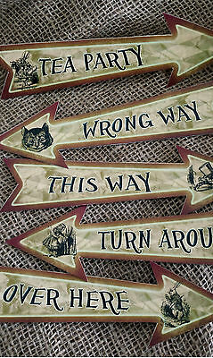 Set of 5 Alice in Wonderland Character Party Decoration Arrows