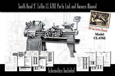 """South Bend 9"""" Lathe CL 670Z Operators Users Manual Parts List 68 Pages Total!!!"""